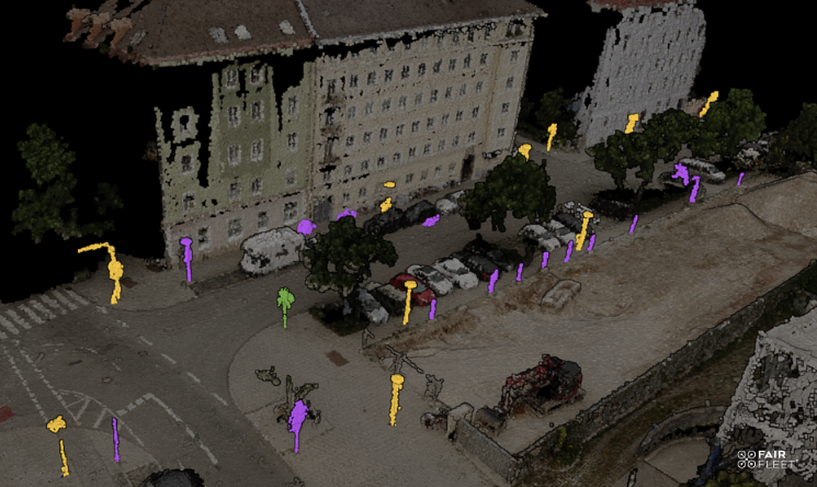 point cloud of street asset inventory classified via AI techniques