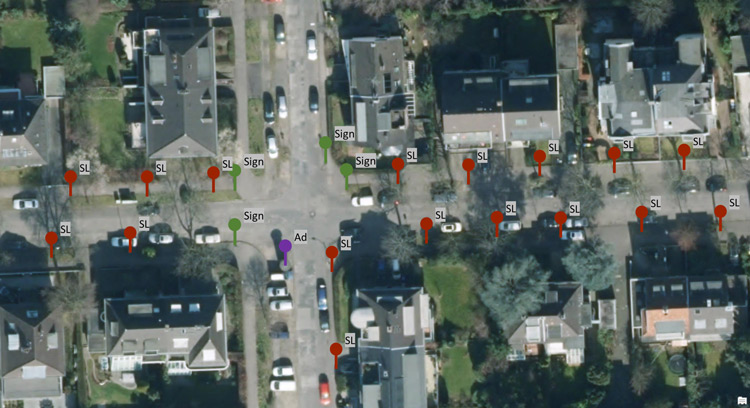 gis layer showing street asset inventory and objects on a geo map generated via AI and point cloud data