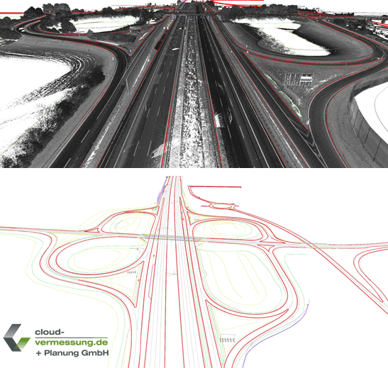 CAD lines of a highway section done by Cloud-Vermessung + Planung GmbH