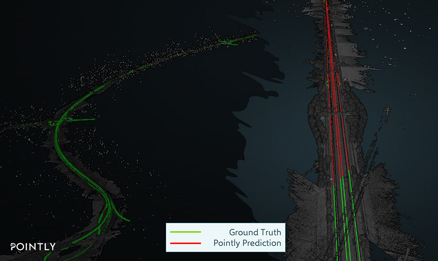 an aerial 3d point cloud scan of a highway